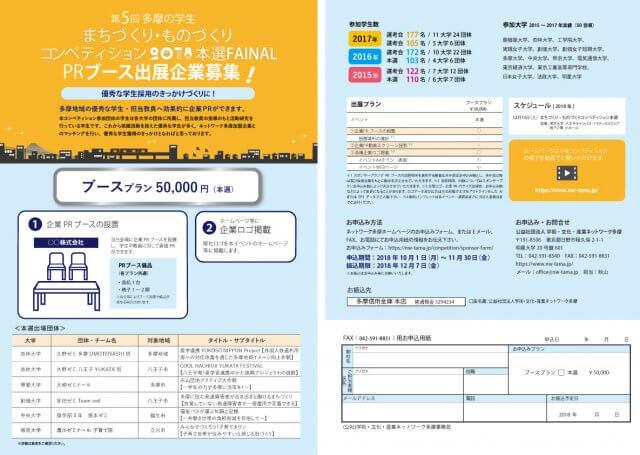 まちづくり・ものづくり コンペティション2018本選PRブース出展企業用申込用紙